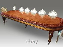 Magnificent CMC Burr Walnut Marquetry dining table Range pro French polished