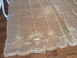 OMG Antique Vtg Net Lace victorian french Curtains Pair Barbola Swags Set #2