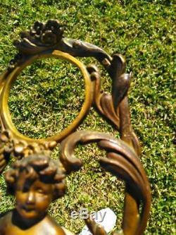 Old Antique Cherub Pocket Watch Holder Stand Cherub French Art Nouveau Victorian
