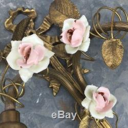 PAIR Antique FRENCH Bronze SCONCES Porcelaine Pink ROSES / Frosted White SHADES