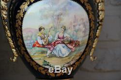 PAIR French cobalt blue porcelain de sevres Vases romantic victorian