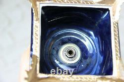 PAIR XL French cobalt blue limoges porcelain Vases victorian romantic decor