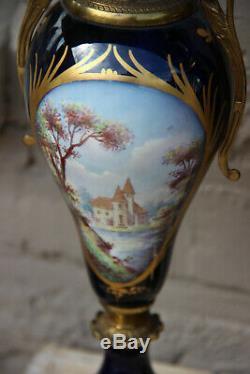 PAIR antique French Sevres porcelain Cobalt blue Vases romantic victorian scene