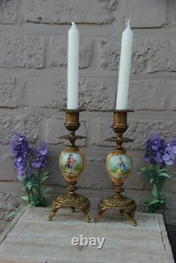 PAIR antique french vieux paris porcelain Candle holder candlesticks victorian