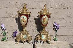 PAIR french brass porcelain urns Vases victorian romantic landscape