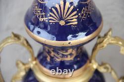 PAIR french limoges cobalt blue porcelain victorian romantic landscape vases