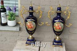 PAIR french vintage cobalt blue limoges porcelain victorian scene vases 1960