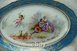 PAIR large antique French SEvres porcelain putti romantic victorian plates
