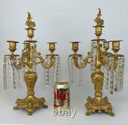 Pair Antique French Louis XV Victorian Gilt Crystal Girandole Candelabra Luster