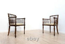 Pair Antique French Vintage Decorative Bentwood Occasional Chairs /1504