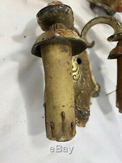 Pair Antique Victorian Early Electric Cast Iron Wall Sconce 2 Arm French Lights