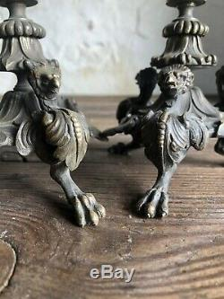 Pair French Empire Bronze Candlesticks. C1870. Fine Quality Barbedienne Style