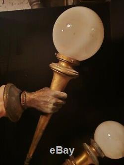 Pair Lifesize ANTIQUE Figural Womans HAND&Torch SCONCES bronze, FrenchVictorian