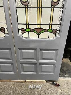 Pair Nouveau Stained Glass Front/ French Doors Period Old Reclaimed Antique Wood