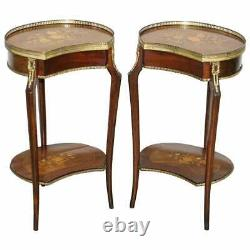 Pair Of Antique French Louis XVI Brass Rail Floral Inalid Side End Lamp Tables
