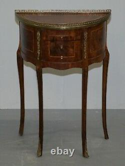 Pair Of Circa 1900 French Burr Walnut Brass Gallery Rail Demi Lune Side Tables