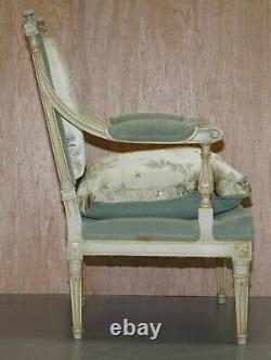 Pair Of Circa 1900 Hand Painted French Armchairs New Chinese Silk Upholstery