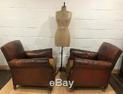 Pair Of Fabulous Antique Brown Leather Club Chairs Armchairs Vintage French