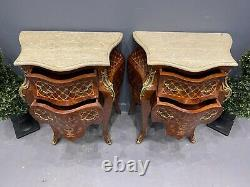 Pair Of French Bedside Chest Of Drawers Inlaid Gilt Ormolu Mounting Marble Top