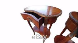 Pair Of French Kidney Shaped Lamp Side Bedside Tables