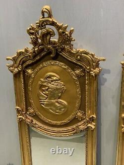 Pair Of French Victorian Design Gilt Frame Mirrors With Lady Figures Superb