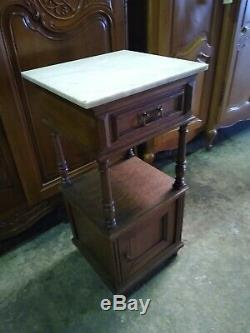 Pretty oak and marble antique French bedside cabinet table