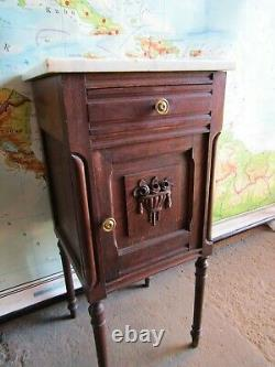 Pretty oak and marble antique carved French country bedside cabinet table