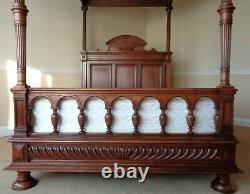 RARE 19th CENTURY ANTIQUE FOUR POSTER BED VICTORIAN FRENCH ITALIAN GOTHIC 4