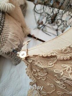 RARE Antique 1800's Victorian Edwardian Silk TAMBOUR FRENCH Lace Parasol Bamboo