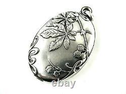 RARE Antique French Locket 800-900 Silver Art Nouveau Mirror Chatelaine Chestnut
