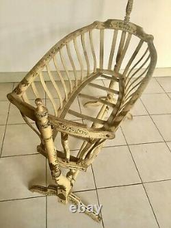 RARE Swan necked crib, Antique French Victorian painted wooden Baby Crib/Cradle