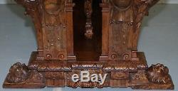 Rare 18th Century French Walnut Renaissance Extending High Table Heavily Carved