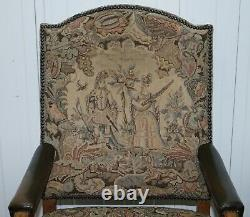 Rare 19th Century French Embroidered Armchair Ornately Carved Frame High Back