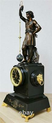 Rare Antique French Farcot Marble & Bronze Conical Pendulum Mystery Mantle Clock