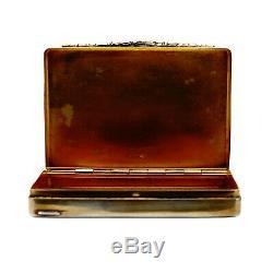 Rare Antique French Victorian Silver Snuff Box Vesta Case Floral Motif
