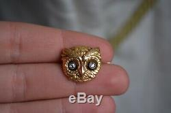 Rare Antique Victorian 18K Gold French En Tremblant Diamond Owl Brooch
