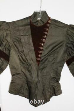 Rare French Antique Victorian Green Silk & Velvet Bodice Size Extra Small