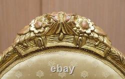Rare French Giltwood Napoleon III Circa 1870 Salon Throne Armchair Part Of Suite