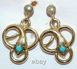 Rare, Superb, Antique Victorian French 18 Ct Gold Snake/serpent Earrings