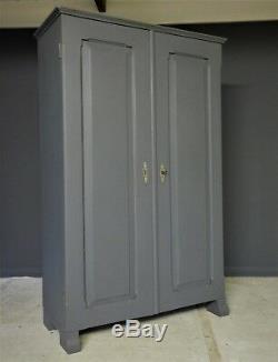 Rustic grey French antique pine larder kitchen linen cupboard cabinet C1860