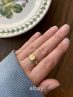 SIGNET Art Nouveau FLORAL Gold Fill Ring Stacker FRENCH Antique Belle Epoque