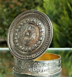 STUNNING VICTORIAN FRENCH SOLID SILVER CIRCULAR ORNATE SNUFF BOX Circa 1870