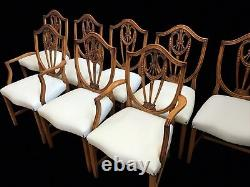 Set 8 to 22 plus Ivory leather Prince of Wales style Chairs Pro French polished