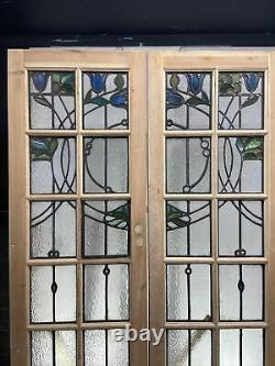 Set Art Nouveau Stained Glass French Doors Period Old Reclaimed Antique C1895