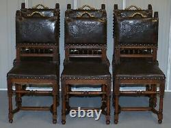 Set Of Six Henry II Circa 1880 French Oak & Embossed Leather Lion Dining Chairs