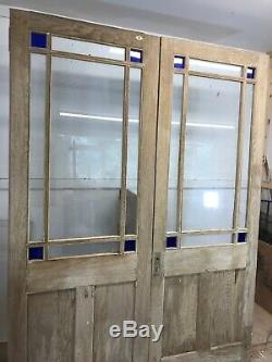 Solid Oak Victorian French Doors Set Antique Period Reclaimed Old Wood Stained