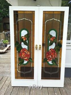 Stained Glass Doors Double Set Antique Period Reclaimed Internal Old French