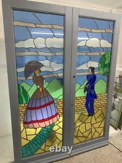 Stained Glass Doors Reclaimed Old French Double Front Teak Bespoke Unique Leaded