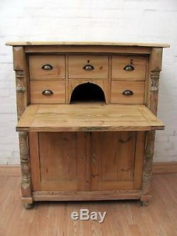 Striking Antique French Stripped Pine Desk C1900 Country Chic