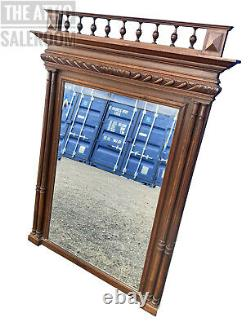 Stunning Antique French Victorian Mahogany Overmantel Pier Mirror, Overmantle